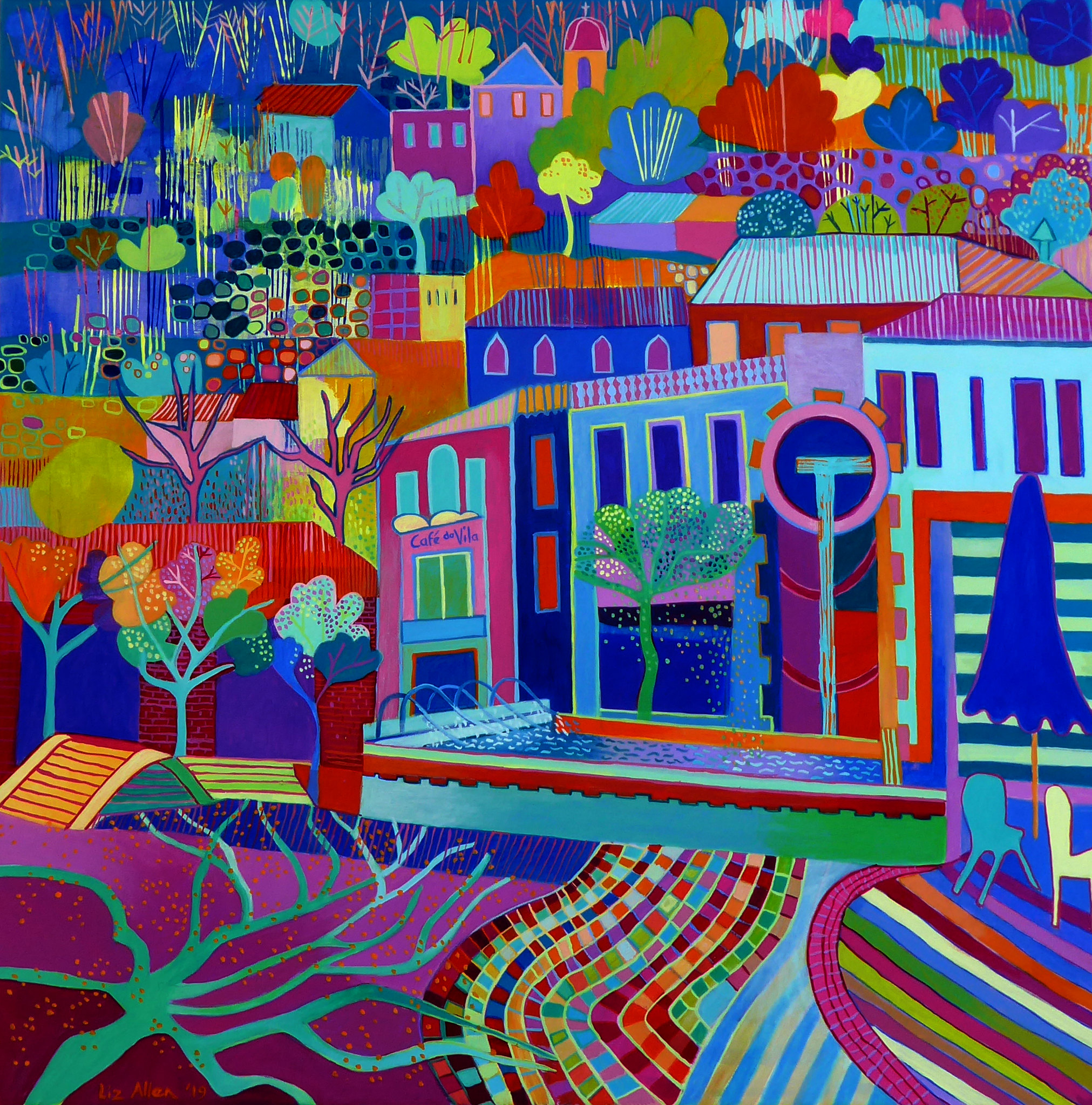 Monchique square with trees and shadows ... acrylic on canvas, 70 x 70cm €650