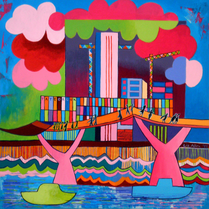 The Tate Modern and Millennium bridge, acrylic on canvas, 50 x 50cm €400
