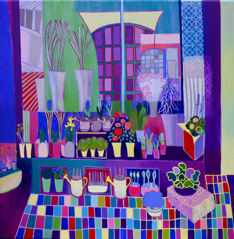 Purple flower shop, acrylic on canvas, 70 x 70cm €650