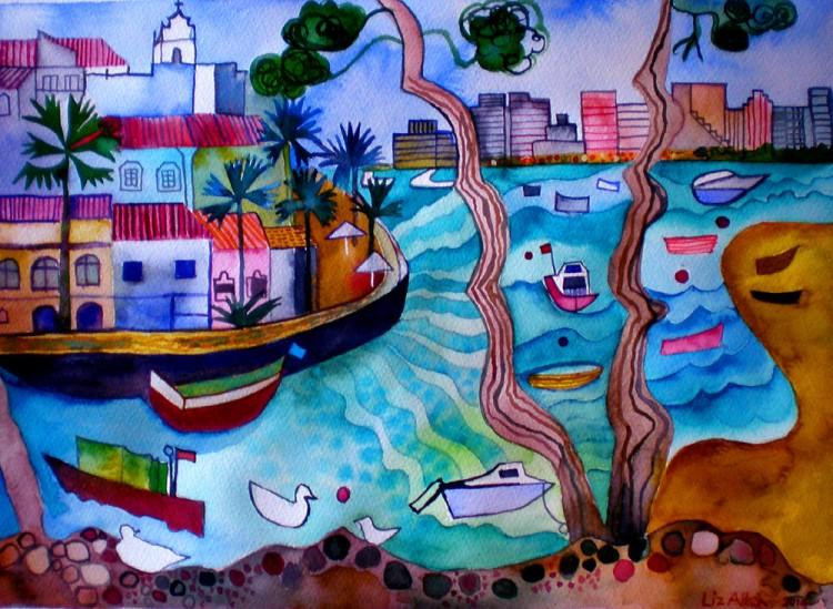 Watercolour painting of Ferragudo