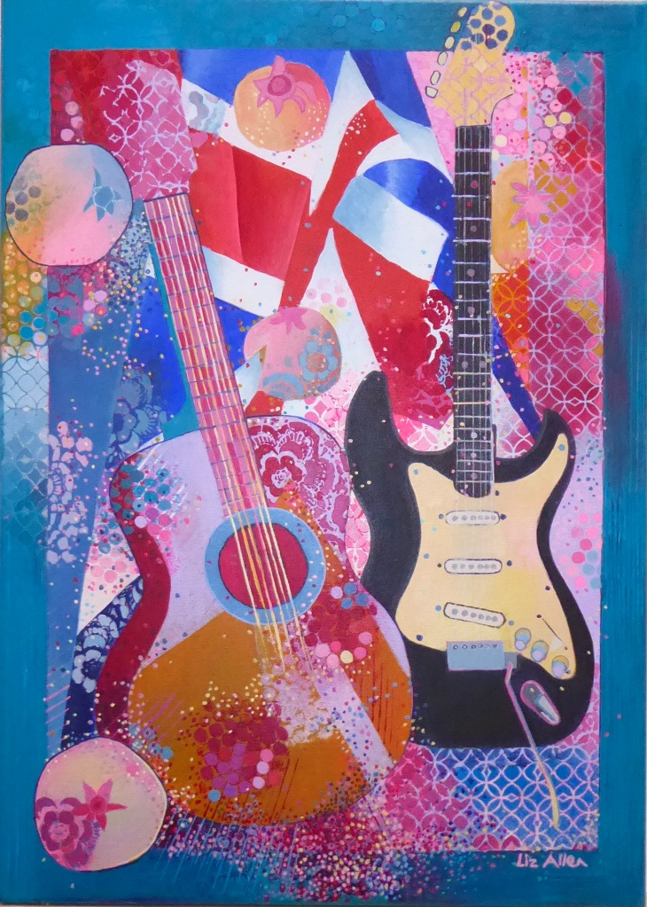 Painting of Guitars, flag and pomegranates