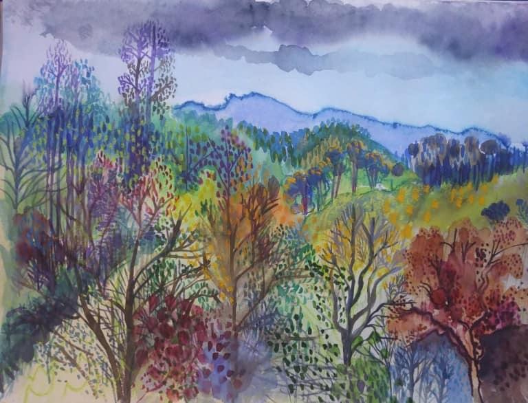 Painting by Liz Allen - Monchique landscape, watercolour on paper